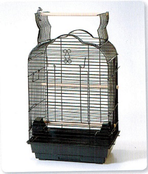 BLACK SMALL PARROT CAGE ARCH/ HUMP OPEN ROOF