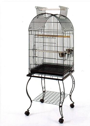 LARGE BLACK ARCHED ROOF BIRD CAGE ON STAND 51x51x152cm