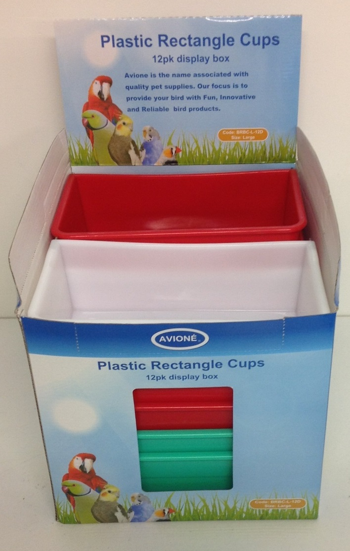 12 LARGE PLASTIC RECTANGLE FEEDER CUP IN DISPLAY BOX