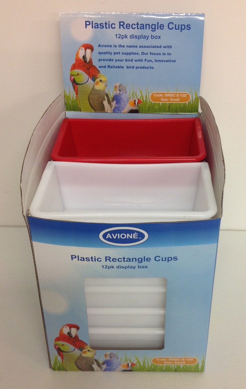 12 SMALL PLASTIC RECTANGLE FEEDER CUP IN DISPLAY BOX